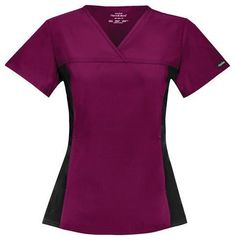Cherokee Flexibles V-Neck Knit Panel Top. Brushed Polyester / Cotton Poplin With Soil Release. V-neckline with front and back yoke and soft and stretchy side panels in contrast color knit. Camo Scrubs, Scrubs Uniform, Workwear Shorts, Nursing Accessories, Cherokee Woman, Cherokee Scrubs, Scrub Jackets, Nursing Tips, Scrub Sets