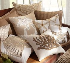 Sequin Coastal Embroidered Pillow Covers | Pottery Barn
