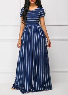 Short Sleeve Stripe Print High Waist Navy Maxi Dress | Rosewe.com - USD $32.40