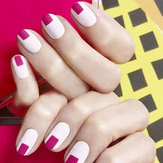 White & Pink Graphic manicure