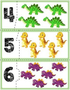 Teach counting skills with these self-correcting dinosaur puzzles! Great for teaching counting skills and number recognition for numbers Quick prep game great for math centers! Dinosaur Snacks, Dinosaur Theme Preschool, Preschool Activities At Home, Dinosaur Puzzles, Dinosaur Train, Dinosaur Activities, Preschool Worksheets, Learning Activities, Teaching Themes