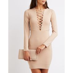Charlotte Russe Lattice-Trim Bodycon Dress (£24) ❤ liked on Polyvore featuring dresses, cream tan, long sleeve midi dress, pink bodycon dress, midi dresses, sexy bodycon dresses and bodycon dress