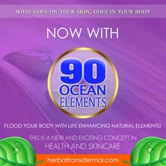 Herbal Transdermal, Natural & Organic Skincare Beauty Products. Health Enhancing with 90 Ocean Elements and 24ct Gold. Get Healthy, Parabens Phthalate free
