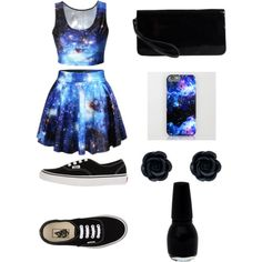 Galaxy/Black by amberpend on Polyvore featuring polyvore, fashion, style, Vans and Pieces