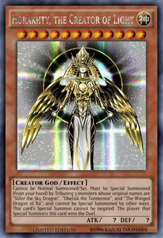 Horakhty, the Creator of Light (request) by sangmaitre on DeviantArt Yu Gi Oh, Laura Lee, Resident Evil, Custom Yugioh Cards, Pikachu Memes, Yugioh Dragons, Yugioh Decks, Obelisk The Tormentor, Yugioh Monsters