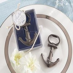 Anchors Away Nautical Bottle Opener Wedding Favor! I don't plan on ever having a nautical wedding but this is a really cute idea for anyone who is