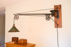 Vintage Industrial Swing Arm Wall Lamp Patina by CustomsBySteve