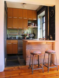 Small Kitchen Decoration With Wooden Cabinets And Green Backsplash