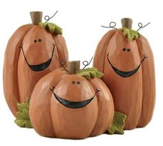 Trio of Smiling Jack O'Lanterns, by Blossom Bucket. Designed by Barbara Lloyd. Measures 4.25 x 3 inches. Made of resin.
