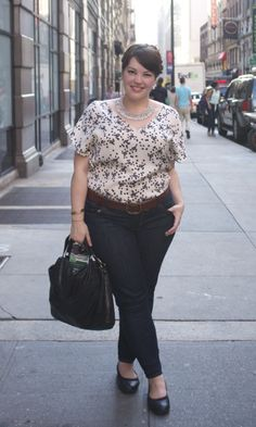 silky printed top + statement necklace + skinny jeans