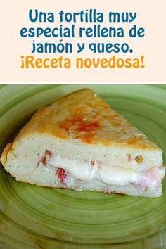 Tortilla rellena de jamon y queso #tortilla #queso #jamon #receta