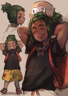 Hau and Rowlet from Pokémon Sun and Moon