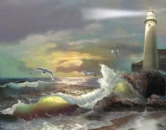 Michigan Lighthouse And The Angry Sea - Gina Femrite    Fine Art America
