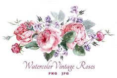 Watercolor vintage roses by Depiano on Creative Market