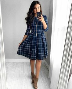 Alice Grid Dress – In der Marine - Kleider Mode Women's Dresses, Fall Dresses, Elegant Dresses, Cute Dresses, Summer Dresses, Wedding Dresses, Formal Dresses, Cute Modest Outfits, Cute Church Outfits