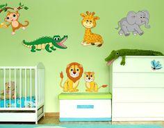 Wandsticker Safari Tiere Wandtattoos Kinderzimmer Tierische Freunde
