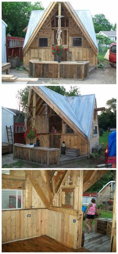 I made a 12 x 16 chalet all out of used skid and crates. Everything was crafted…