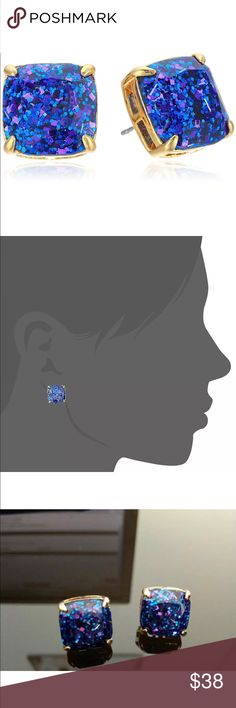 """Firm Kate Spade New York Blue Glitter Earrings Sparkling blue glitters on a raised 12k gold square base. Made with steel post. Brand new on card. Diameter: Approx. 1/2"""" square. Gorgeous in person! kate spade Jewelry Earrings"""