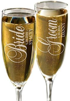 Bride and Groom Personalized Set of 2 Champagne Flutes, C…