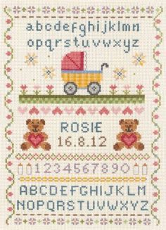 image of Classic Birth Sampler Cross Stitch Kit Cross Stitch Fabric, Cross Stitch Baby, Cross Stitch Alphabet, Counted Cross Stitch Kits, Cross Stitching, Cross Stitch Patterns, Embroidery Patterns, Hand Embroidery, Black Sheep Wool