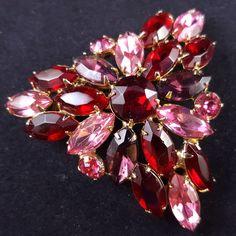 JULIANA Vintage Brooch Pin Triangle Flower Pink & Red Rhinestone Marquise W281    eBay