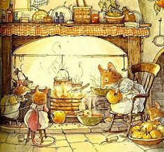 Jill Barklem (born is a British writer and illustrator of children's books. Her most famous work is the Brambly Hedge series, published from Art And Illustration, Book Illustrations, Art Fantaisiste, Brambly Hedge, Woodland Creatures, Beatrix Potter, Whimsical Art, Hedges, Illustrators