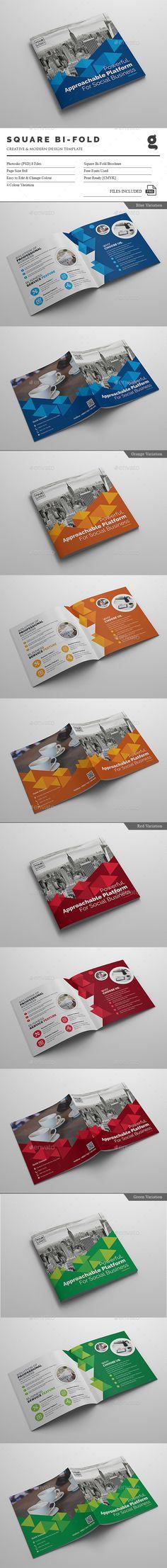 Square Bi-Fold Brochure Template PSD. Download here: http://graphicriver.net/item/square-bifold-brochure/15864115?ref=ksioks