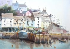 Brixham by peter cronin, Watercolour Watercolor Painting Techniques, Watercolor Artists, Watercolor Pencils, Watercolor Landscape, Watercolour Painting, Landscape Paintings, Watercolours, Landscapes, Art Watch