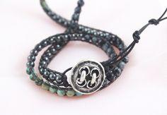 Traveling Light - Multi-Gemstone Skinny Double Wrap Leather Bracelet by Leftovers4Dinner on Etsy