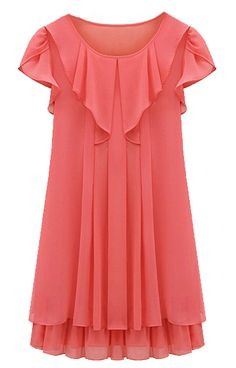 Red Sleeveless Ruffles Pleated Chiffon Dress - Sheinside.com