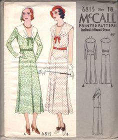 McCall 6815 | ca. 1932 Ladies' & Misses' Dress