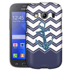 Samsung Galaxy Ace Style Chevrons Faux Glitter Anchor Navy Case