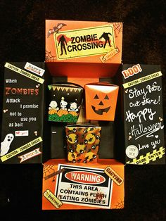 Great care package for Halloween! Just finished my Husbands Halloween care package :) construction paper, stickers, and goodie boxes from Michaels. I printed out the zombies sign and drew a couple of things Missionary Packages, Deployment Care Packages, Cute Gifts, Diy Gifts, Halloween Care Packages, Care Box, Care Care, Halloween Gifts, Halloween Baskets