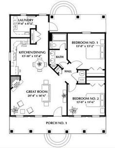 House Plans One Story, Tiny House Plans, House Floor Plans, Tiny Home Floor Plans, Guest House Plans, Small Cottage House Plans, Small House Plans Under 1000 Sq Ft, Small Cabin Plans, Small Cottage Homes