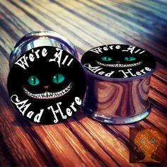 "0g - 2"" Alice in Wonderland ""We're all mad here"" Cat Plugs! CHOOSE SIZE cat jewelry"