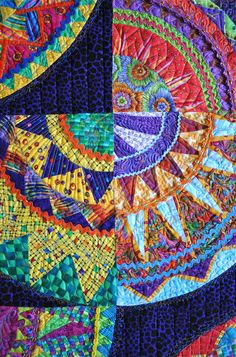 Close up, Cinco de Mayo quilt by Buda Bee Quilters (Texas), showing rick rack and quilting. Photo by Bill Volckening at Willy Wonky Quilts