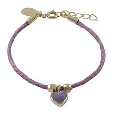 Ivy and Max Gold Finish Purple Enamel Heart Girls Charm Cord Bracelet 61 Extender *** Click on the image for additional details.