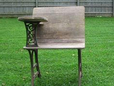 Antique cast iron and wood school desk