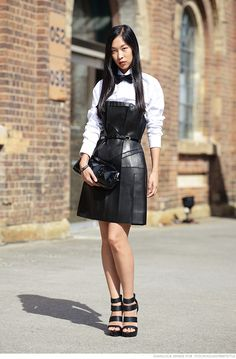 Proof leather can be ladylike. Cissy Zhang as seen on Caroline's Mode.