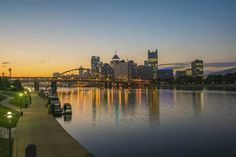Morning in Pittsburgh, Pennsylvania by Dave DiCello Photography Pittsburgh Strip District, Pittsburgh Pa, Mount Washington, Ohio River, Beautiful Sunrise, Pennsylvania, Adventure Travel, New York Skyline, Scenery