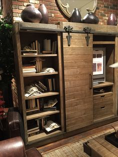 Arhaus store Dallas - entertainment center with sliding barn doors Tv Diy, Bedroom Barn Door, Rack Tv, Casa Patio, Home Decoracion, Muebles Living, Entertainment Center Decor, Bath And Beyond Coupon, Tv Decor
