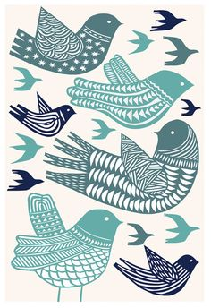 Birds in Flight Archival Print by Swallowfield on Etsy - . - Birds in Flight Archival Print by Swallowfield on Etsy – t - Sgraffito, Vogel Illustration, Scandinavian Folk Art, Stamp Carving, Linocut Prints, Giclee Print, Tampons, Bird Art, Birds In Flight