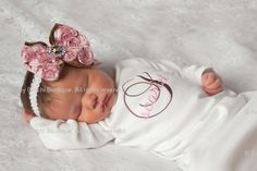 Baby Girl Onesie or Infant Gown and Rosette Hair Bow with Rhinestone - Chocolate Brown and Pink Monogram - Newborn thru 12 months. $37.50, via Etsy.
