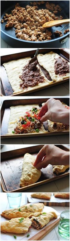 Cheesy Taco Crescent Calzones