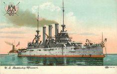 C-1905 US Battleship Missouri Navy Military Great White Fleet postcard 12252