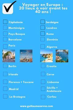 Envie de voyager en Europe ? Quels sont les lieux incontournables à voir avant tes 40 ans ? Paris, Londres, Barcelone, Rome, Berlin, Madrid, Florence… Je ne sais pas toi, mais moi, je suis tiraillé entre la raison (rester en France) et l'envie irrésistible de sortir de ce climat français toujours aussi négatif et anxiogène. #voyagereneurope #voyageeurope #blogvoyage #voyage #europe