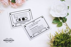 For the DIY bride that wants beautiful and quirky invitations but also wants to handle printing and assembly These *10 FREE* Wedding Cassette Tape Song/Request RSVP DOWNLOAD is a perfect addition to your invitations – There so much so much fun for your guests to add some song requests for the DJ list while be super handy RSVP for your big day