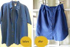 four square walls: two skirt refashions Thrift Fashion, Diy Fashion, Fashion Ideas, Old T Shirts, Button Up Shirts, Diy Clothes Makeover, Vintage Thrift Stores, How To Make Skirt, Shirt Refashion
