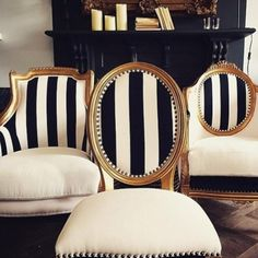 …my kind of chairs. Just redo the backs with stipes and a boring bottom might be cool as a vanity chair?