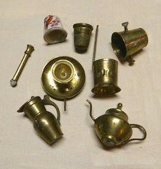 Antique Vintage LOT various Miniature Brass Items Doll House Pitcher Thimble Old